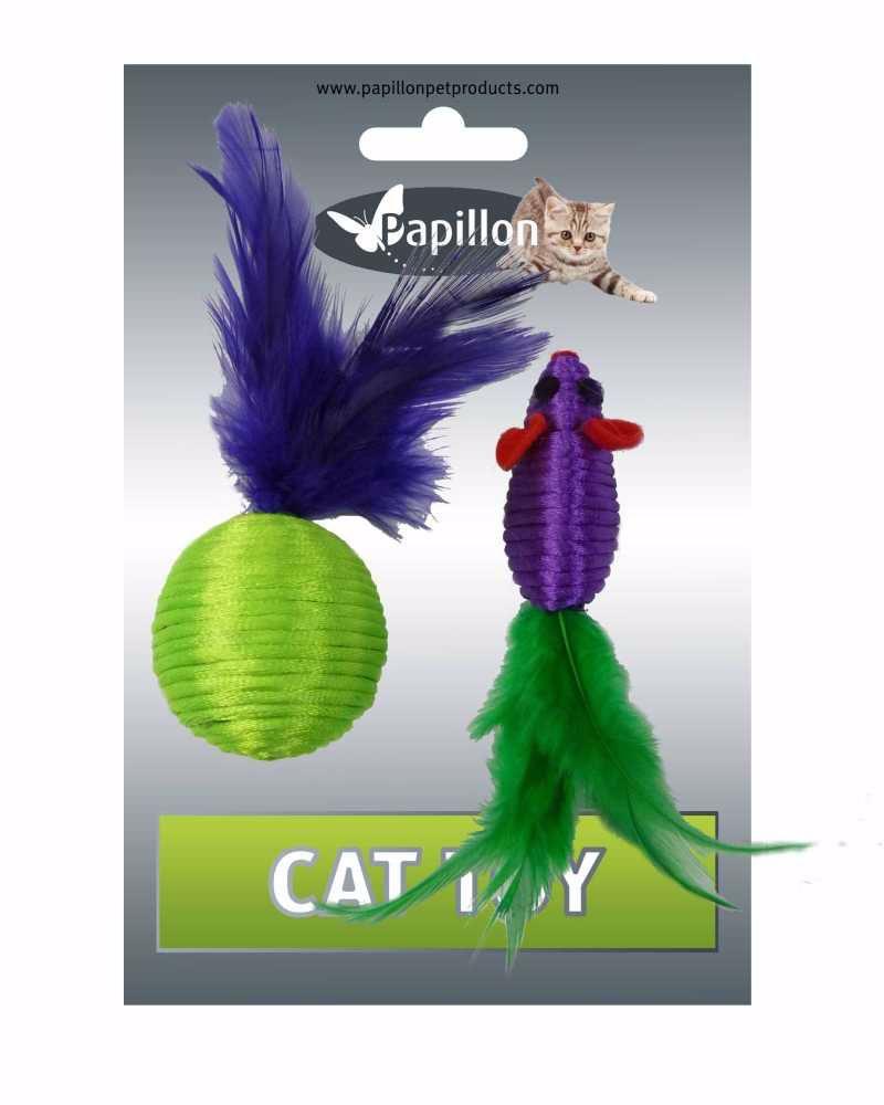 Myš a míček s peřím zeleno-fialová mat