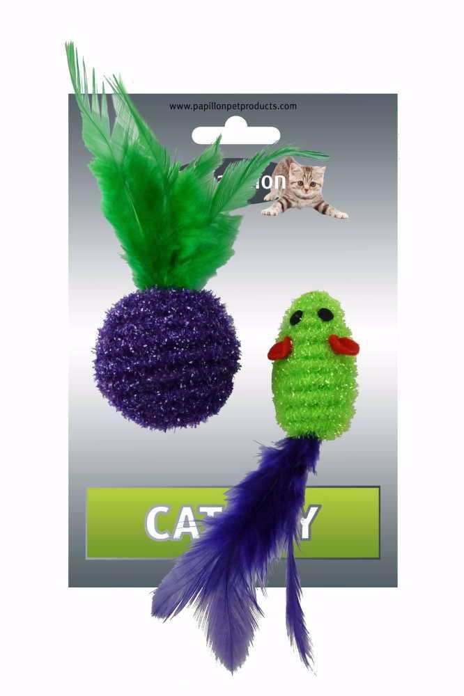Myš a míček s peřím zeleno-fialová třpyt