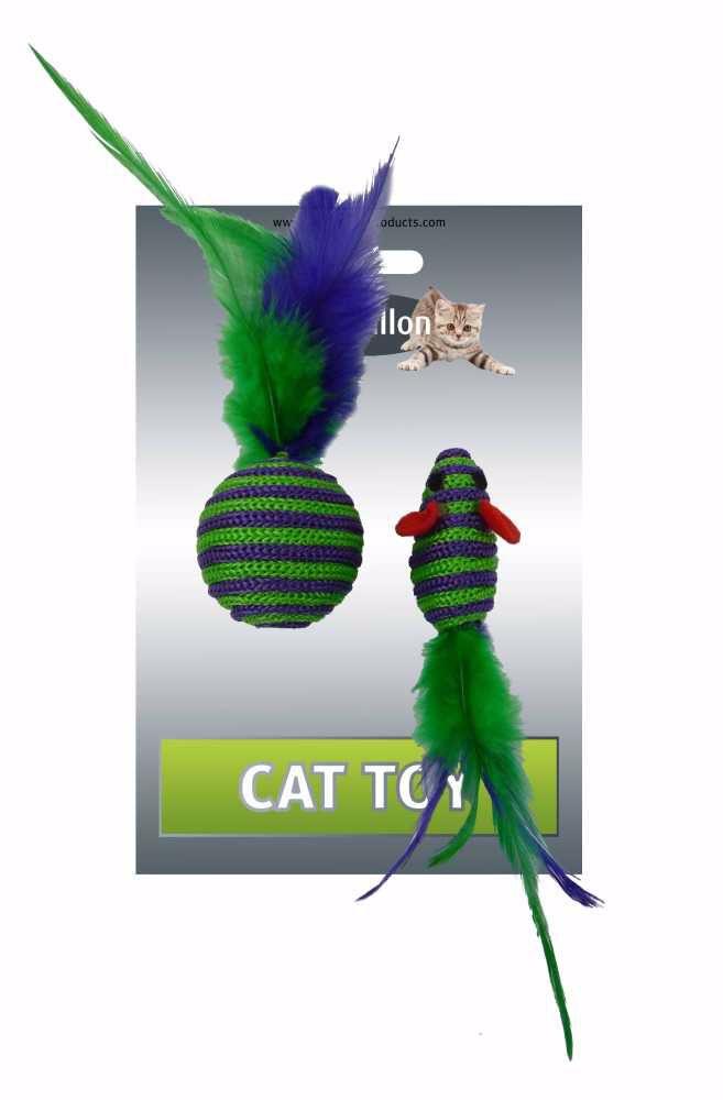 Myš a míček s peřím zeleno-fialová pruhy mat