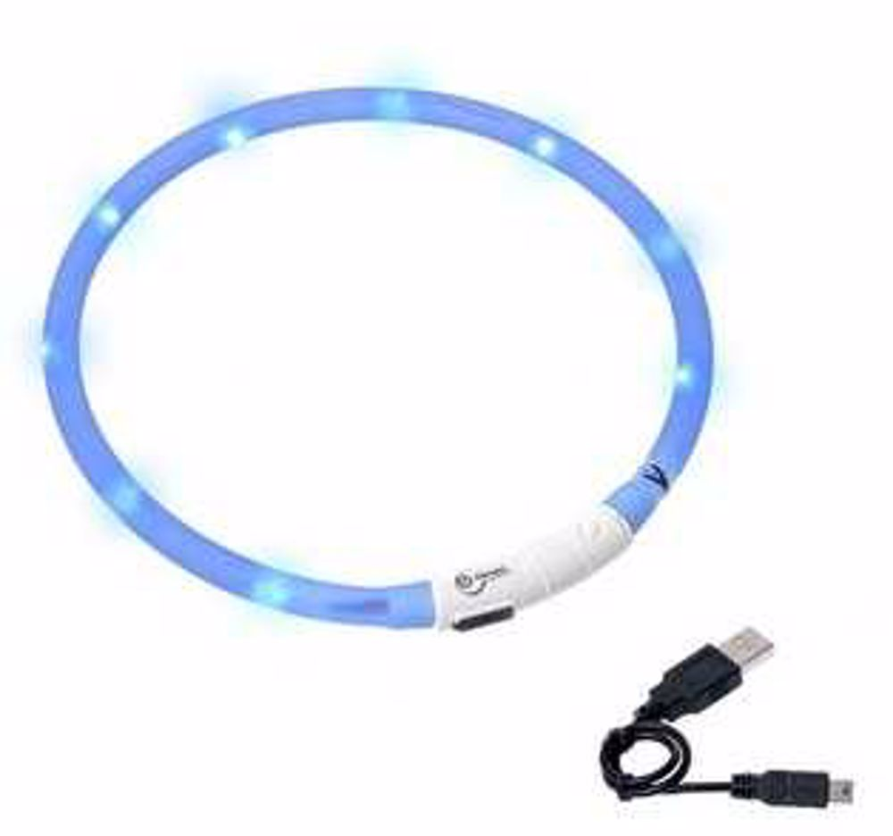 Karlie LED obojek dobíjecí modrá 75 cm