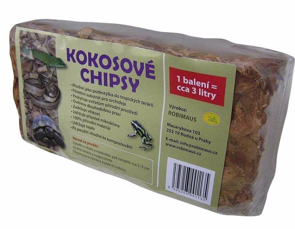 Podestýlka pro plazy - Kokosové chipsy Robimaus