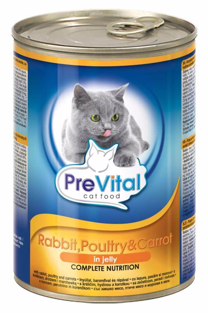 PreVital kousky kočka králík+drůbeží+mrkev v želé 415g-12761