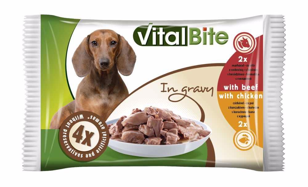 VitalBite kapsa pes 4-pack 85g hovězí+kuřecí-12764