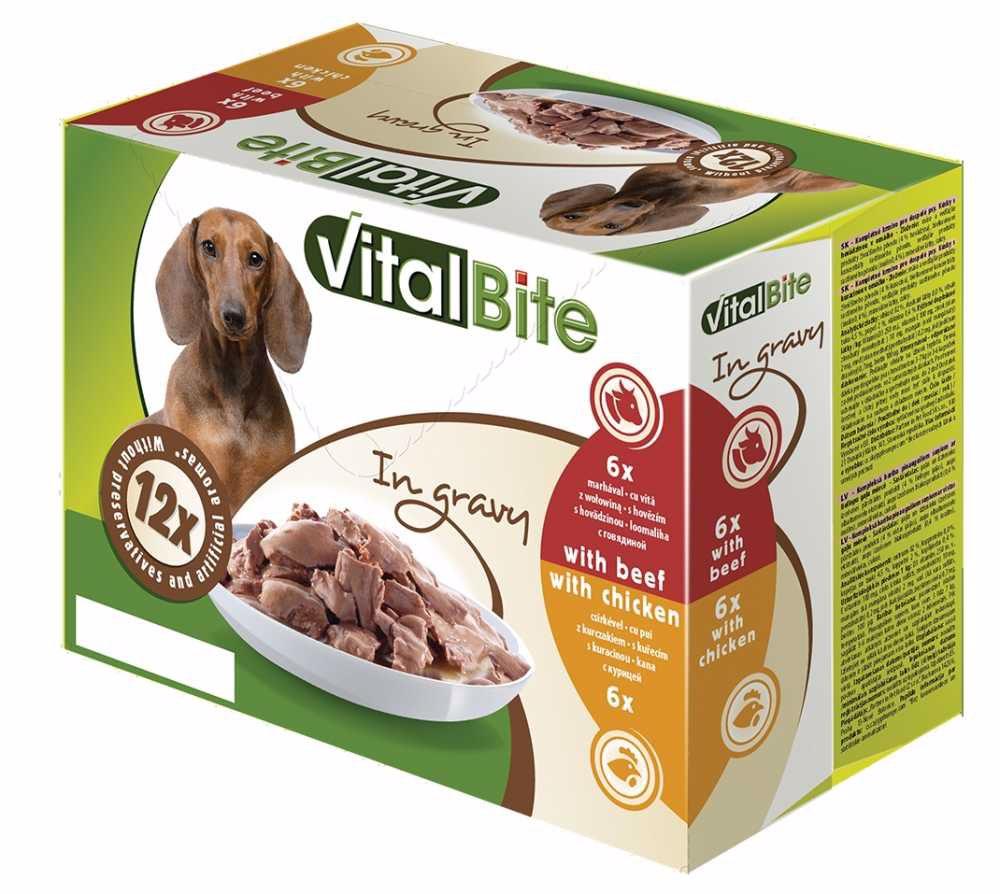 VitalBite kapsa pes 12-pack 85g hovězí+kuřecí-12765