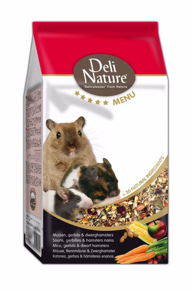 Deli Nature 5 Menu MICE,GERBILS,DWARF HAMSTERS 750g- Myš, Piskomil, Zakrslý Křeček-13001