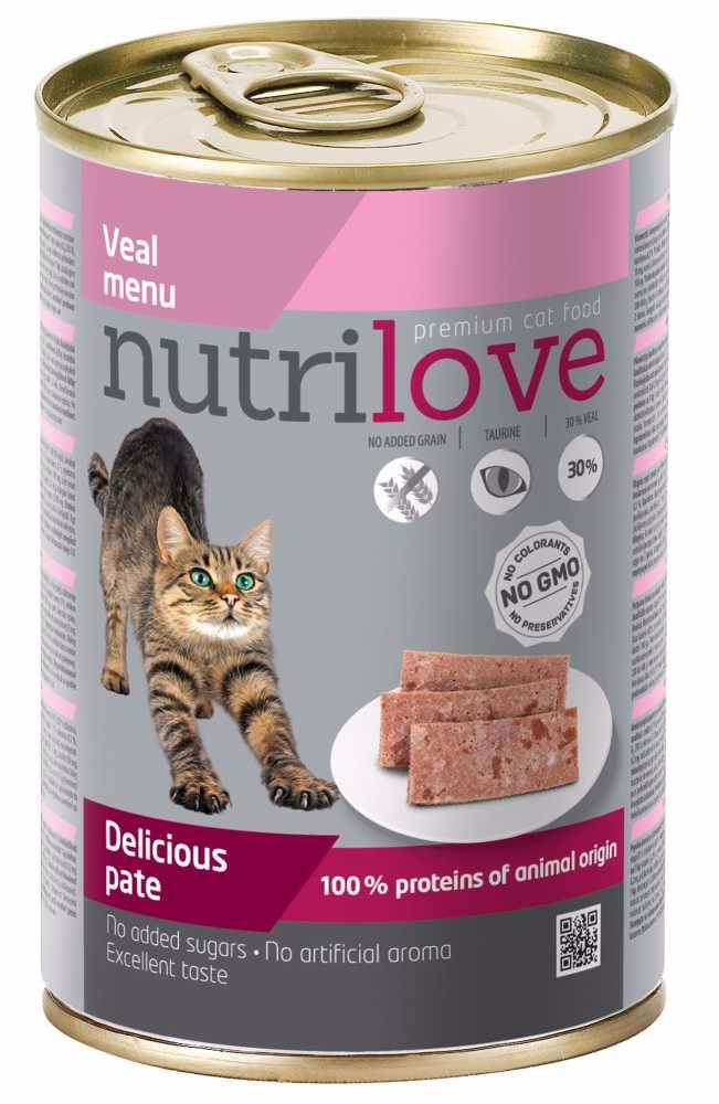 Nutrilove kočka telecí paté 400 g
