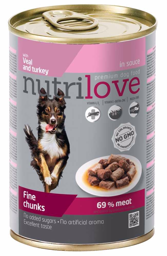 Nutrilove pes telecí a krůtí kousky ve štávě, konzerva 415 g