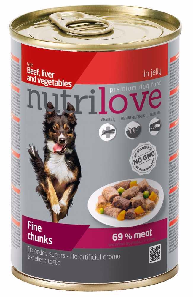 Nutrilove pes hovězí, játra, zelenina kousky v želé, konzerva 415 g