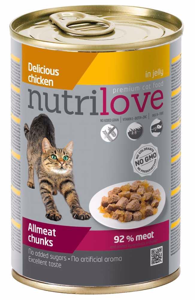 Nutrilove kočka kuřecí kousky v želé, kapsička 400 g