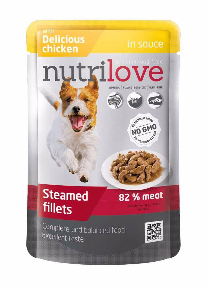 Nutrilove pes kuřecí ve štávě, kapsička 85 g