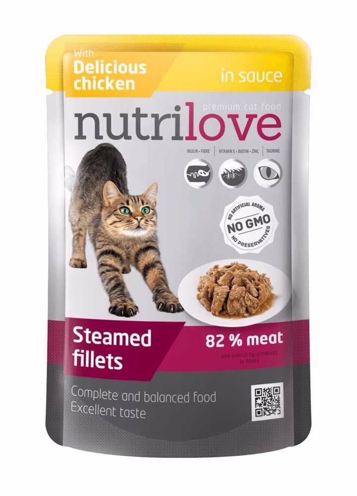Nutrilove kočka kuřecí ve šťávě, kapsička 85 g