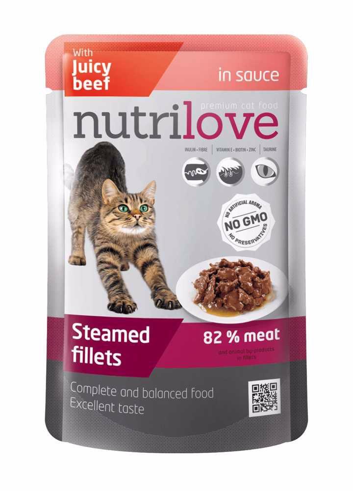 Nutrilove kočka hovězí ve šťávě, kapsička 85 g