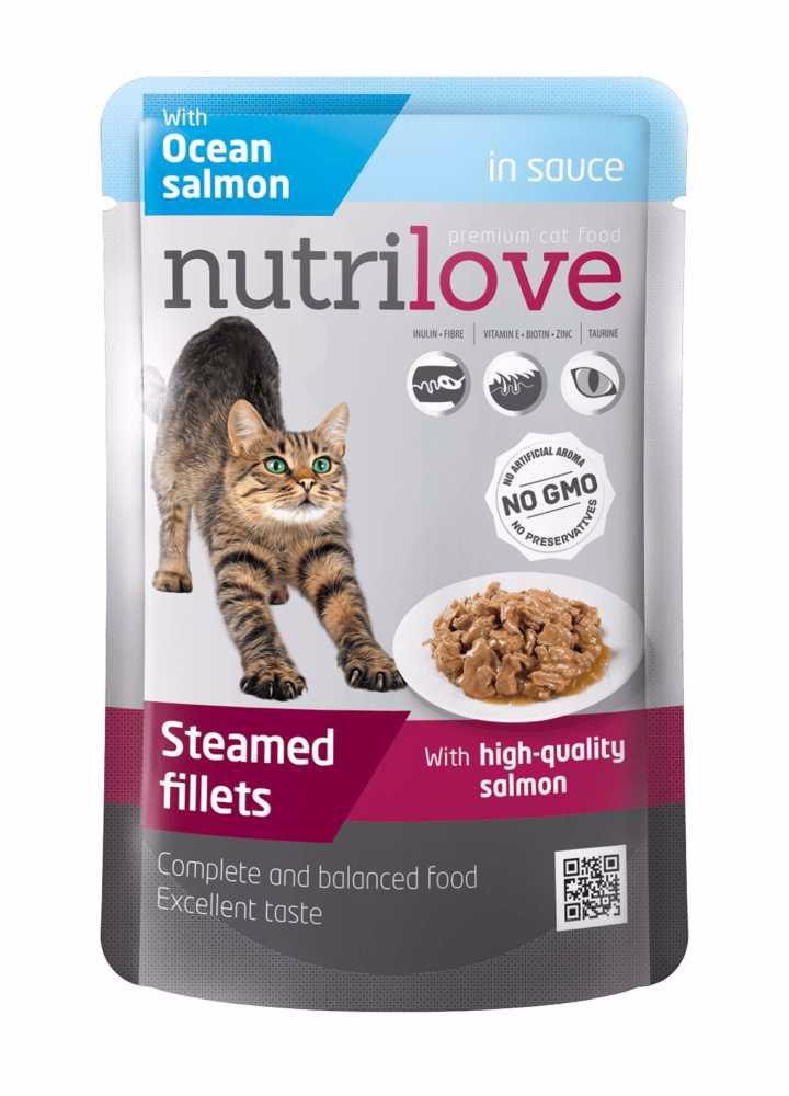 Nutrilove kočka losos ve šťávě, kapsička 85 g