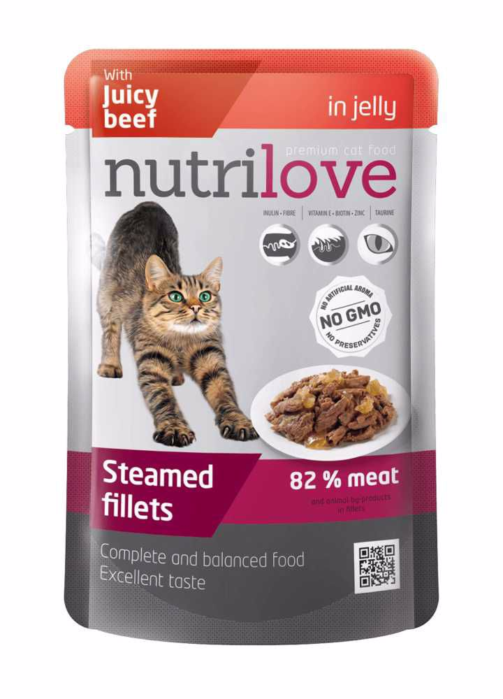 Nutrilove kočka hovězí v želé, kapsička 85 g