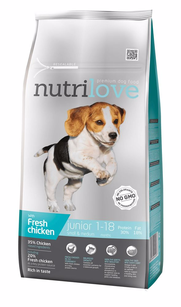 Nutrilove pes Junior Small & Medium fresh kuřecí, granule 8 kg