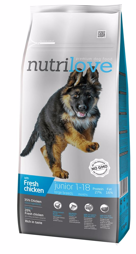 Nutrilove pes Junior Large fresh kuřecí, granule 12 kg