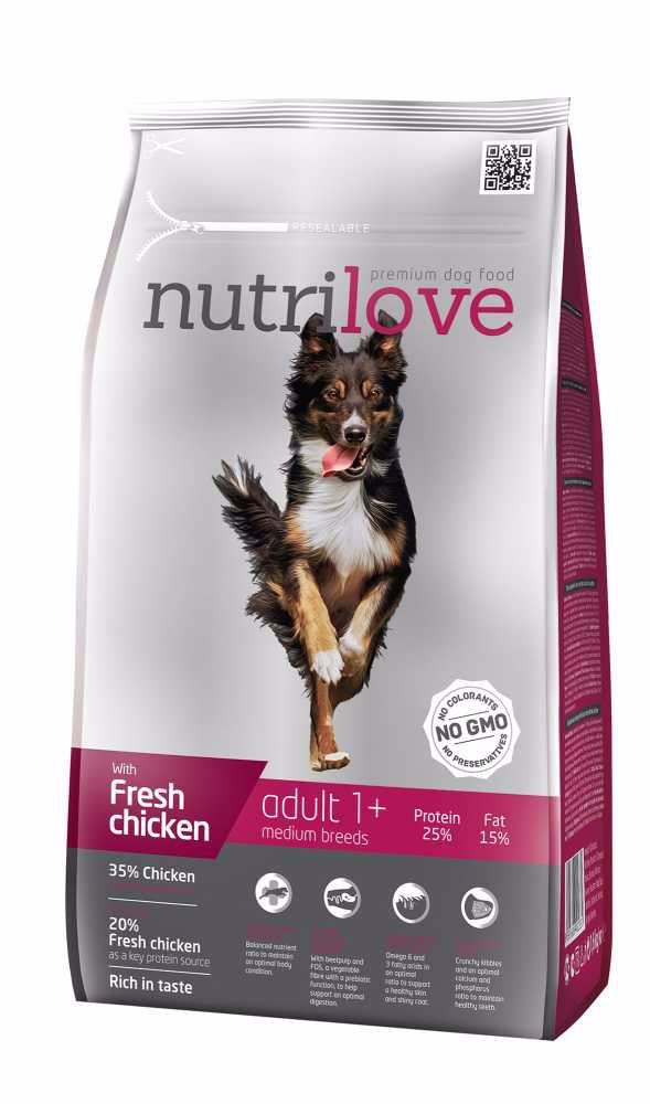 Nutrilove pes Adult Medium fresh kuřecí, granule 1,6 kg