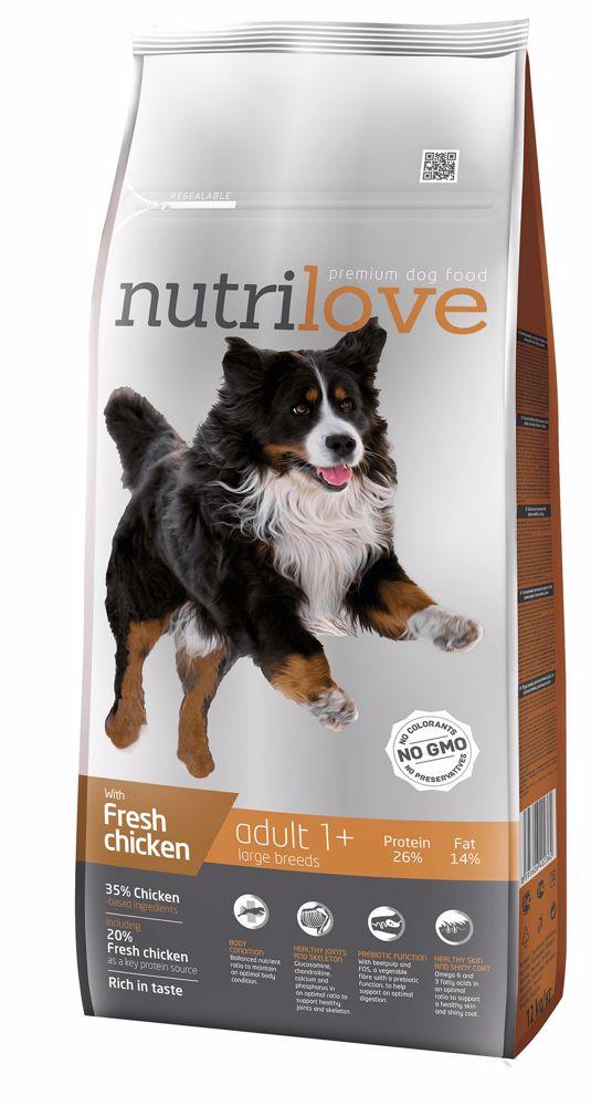 Nutrilove pes Adult Large fresh kuřecí, granule 12 kg