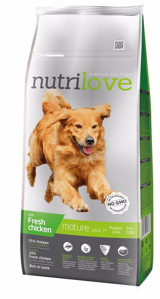 Nutrilove pes Mature fresh kuřecí, granule 12 kg