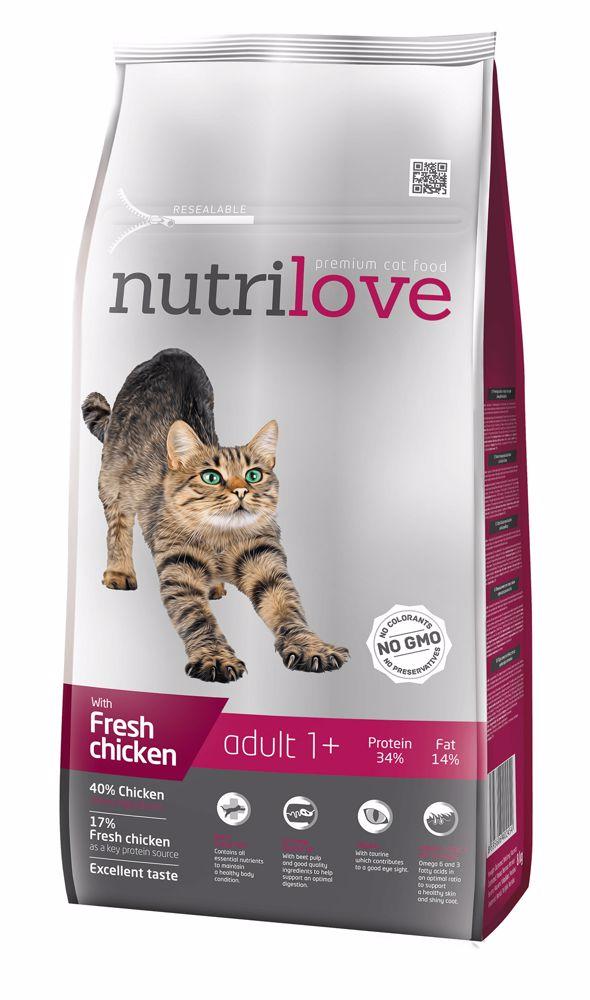 Nutrilove kočka Adult fresh kuřecí, granule 8 kg