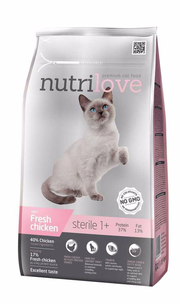 Nutrilove kočka Sterile fresh kuřecí, granule 1,4 kg