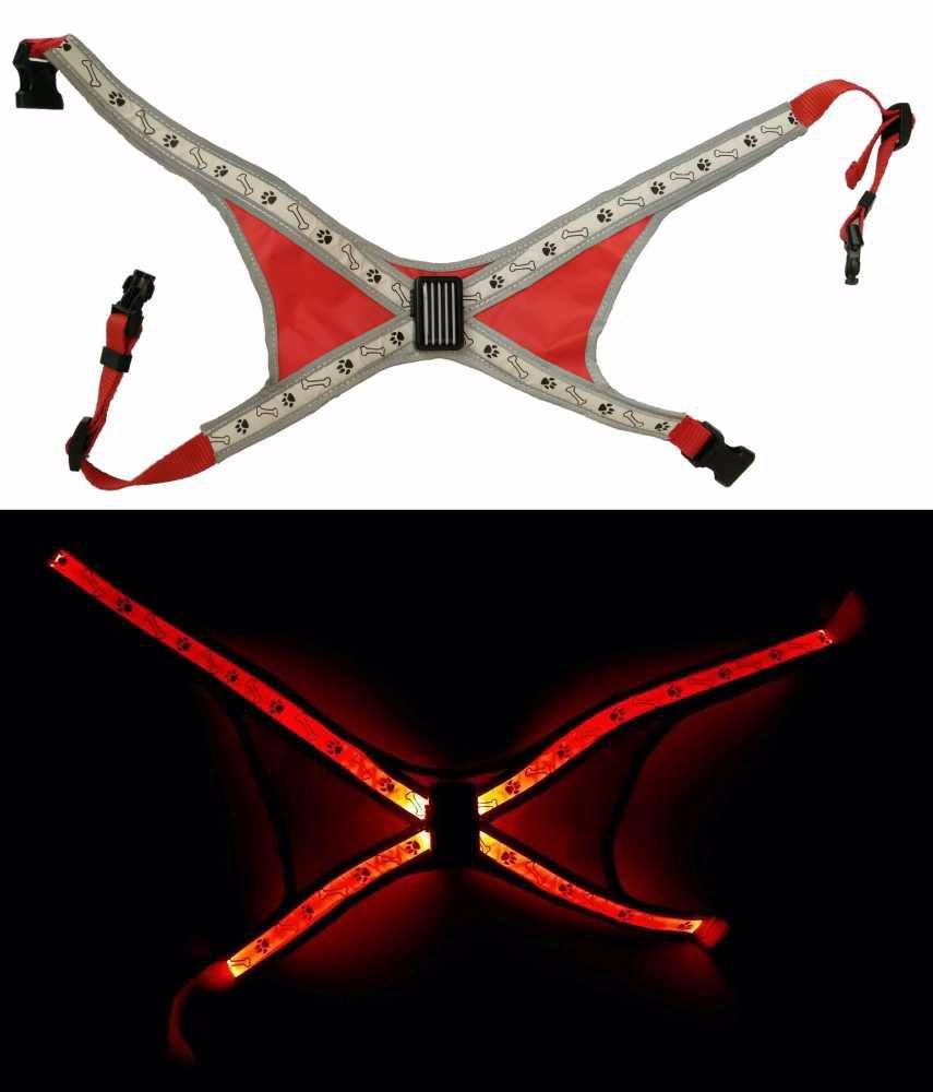 Svítící LED postroje-S-40x60cm-ČERVENÁ-13395