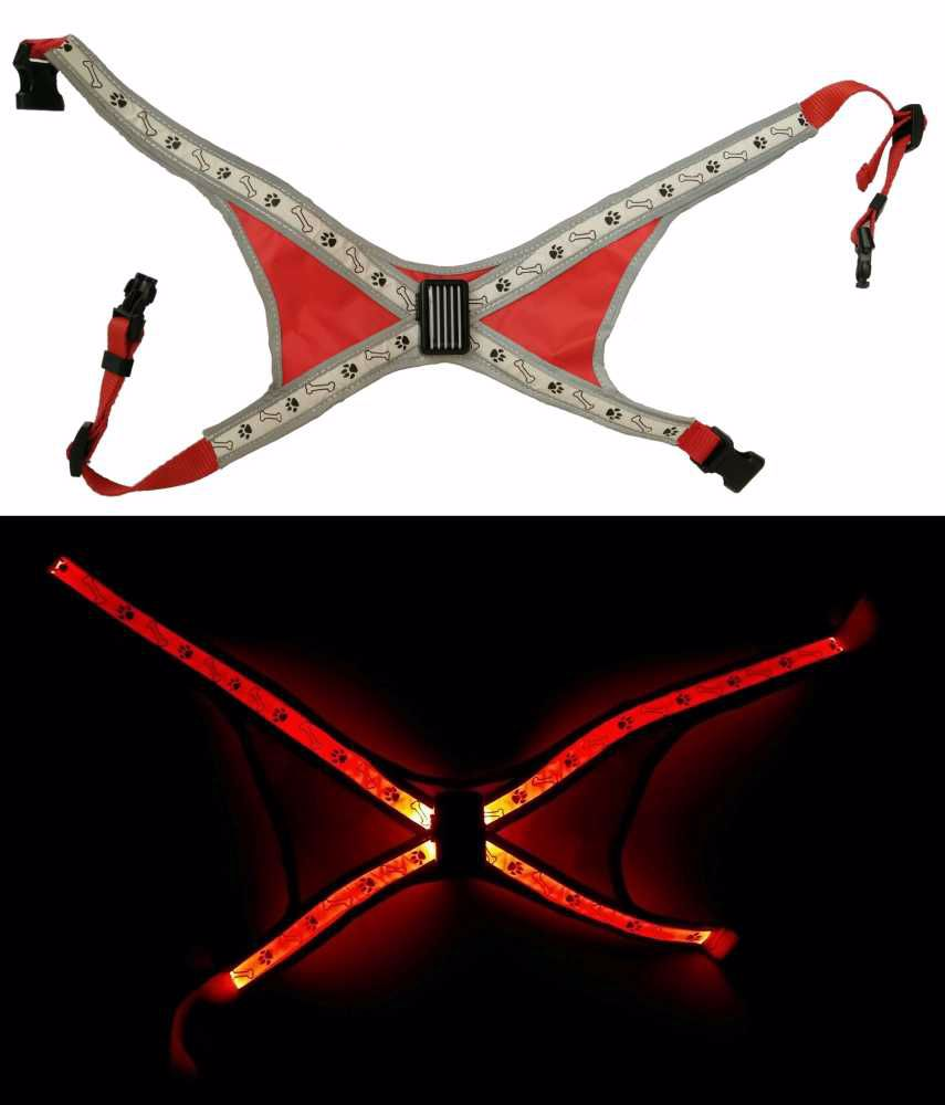 Svítící LED postroje L červená