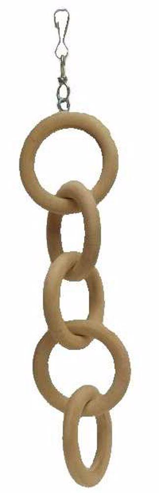 Hračka pták - dřevěný řetěz, 5 ok