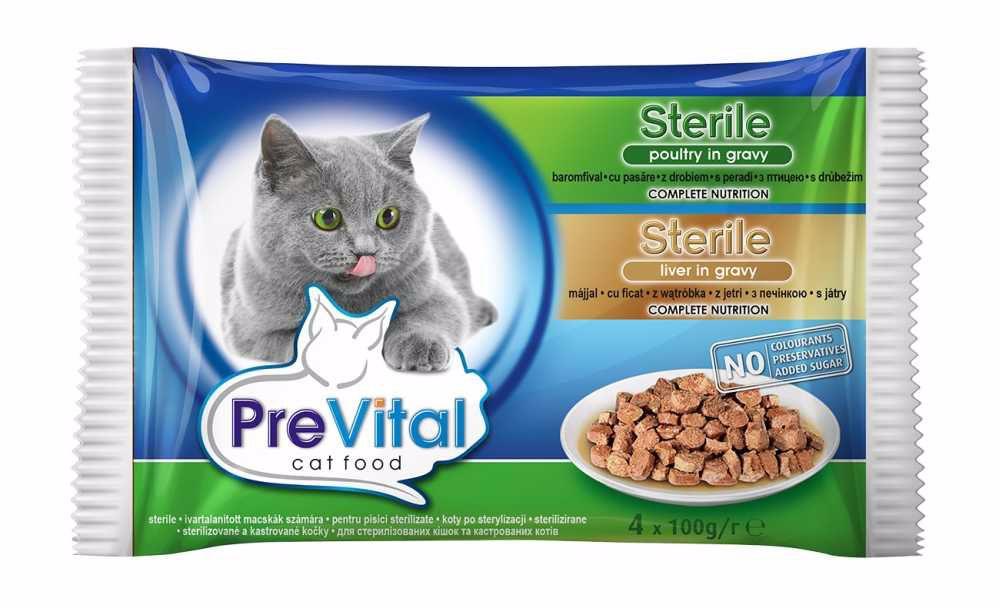 PreVital kapsa kočka 4-pack 100g-STERILE-játra+ drůbeží-13577-!CZ!