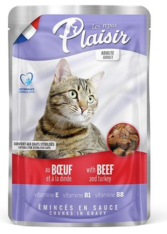 Plaisir Cat kapsička 100g hovězí+krocan-13666