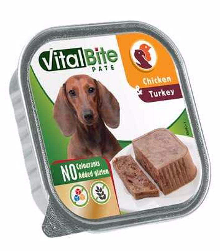 VitalBite masové kousky v paté s kuřecím a krůtím, vanička 150 g