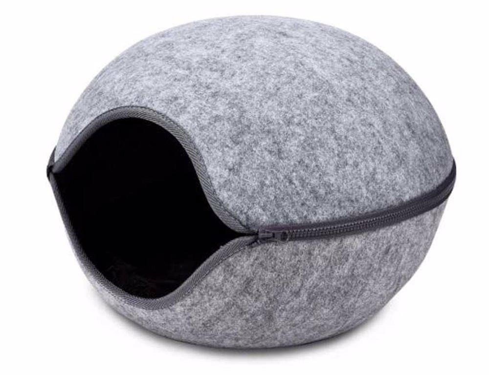 Kukaň pelíšek vchod střed šedá, 46x46x32,5 cm