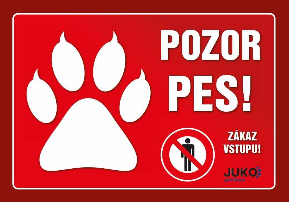 cedulka PLAST - TLAPKA - POZOR PES-13877