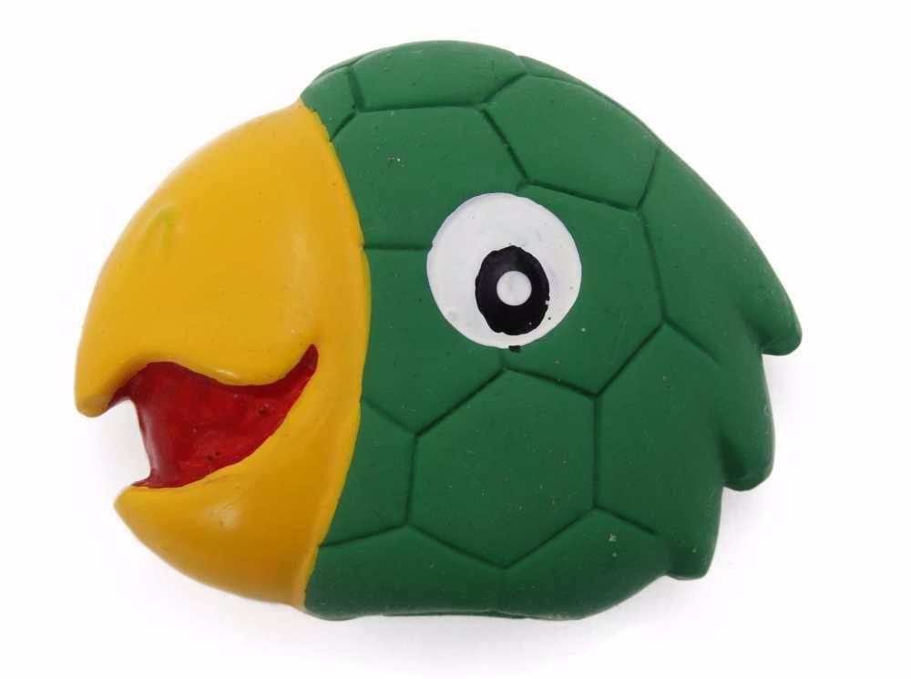 Latexová hračka s pískadlem-Papoušek,hlava 8x7x3cm-14107