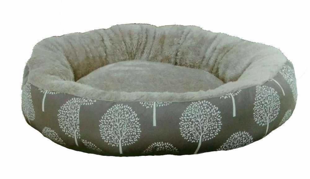 Pelíšek JUKO plyš kruh, vzor strom M 63x11 cm