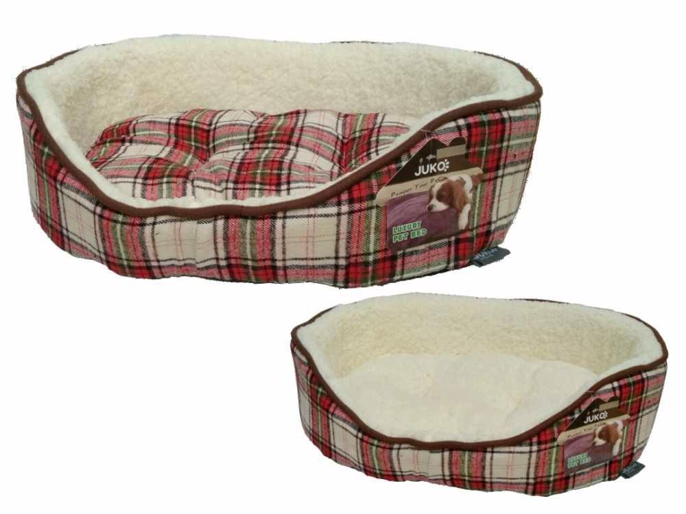 Pelíšek JUKO klasik, vzor skotská kostka L 80x60x19cm-červená-14137