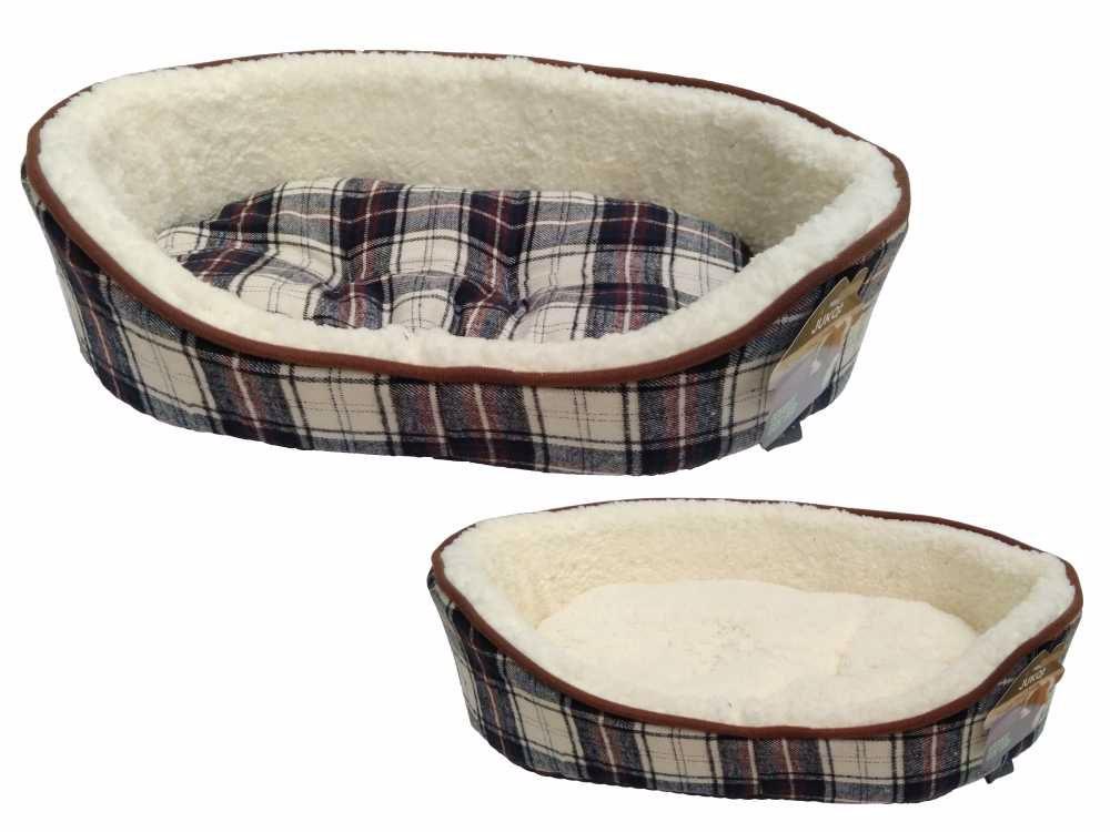 Pelíšek JUKO klasik, vzor skotská kostka XL 90x72x21cm-černá-14138