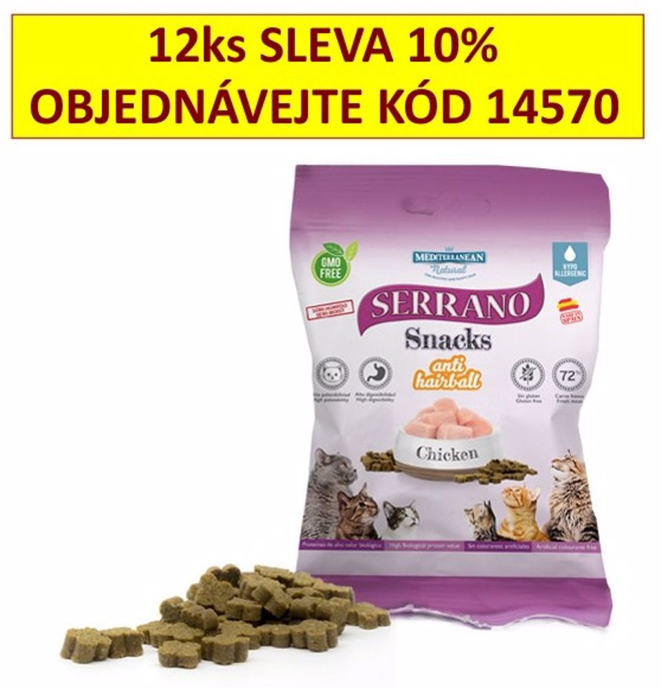Serrano Snack for Cat AntiHairball Chicken 50 g