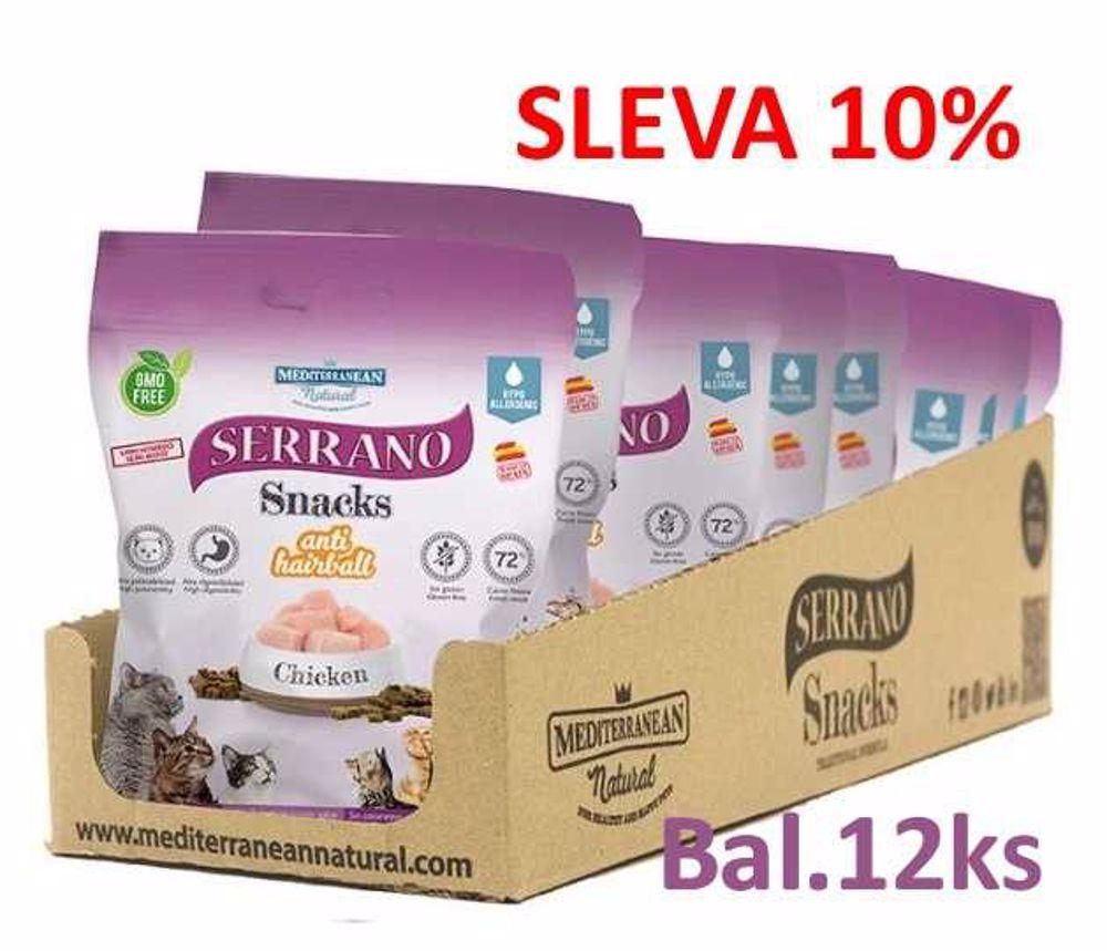 Serrano Snack for Cat-Chicken-AntiHairball 50g-12ks-AKCE 10%-14570