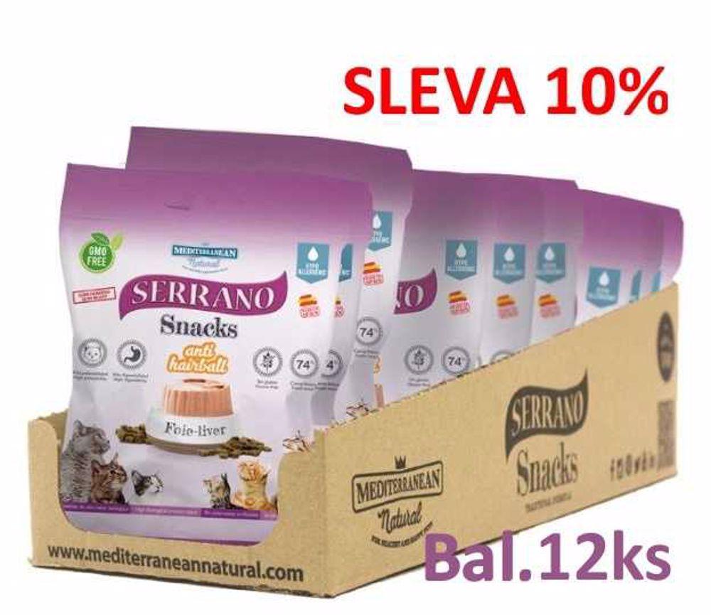 Serrano Snack for Cat-Liver-AntiHairball 50g-12ks-AKCE 10%-14572
