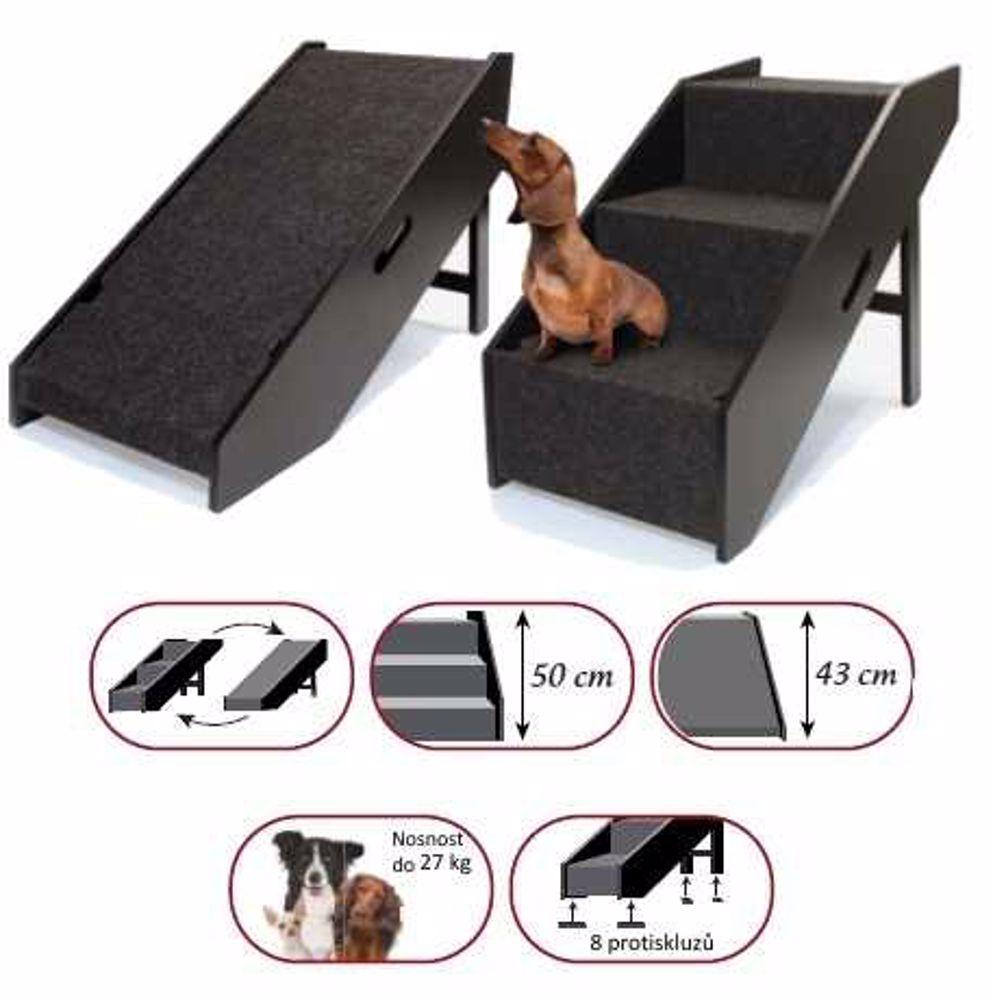 Schody/rampa dřevěné -černé-2v1 pro psy/kočky Croci-0995C