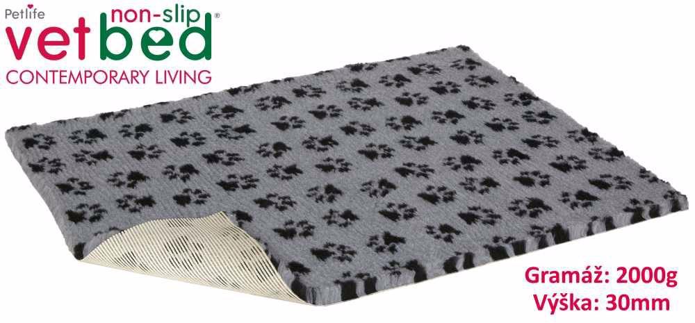 Vetbed protiskluz/Drybed šedá Packy 150 x 100 cm, vlas 30 mm