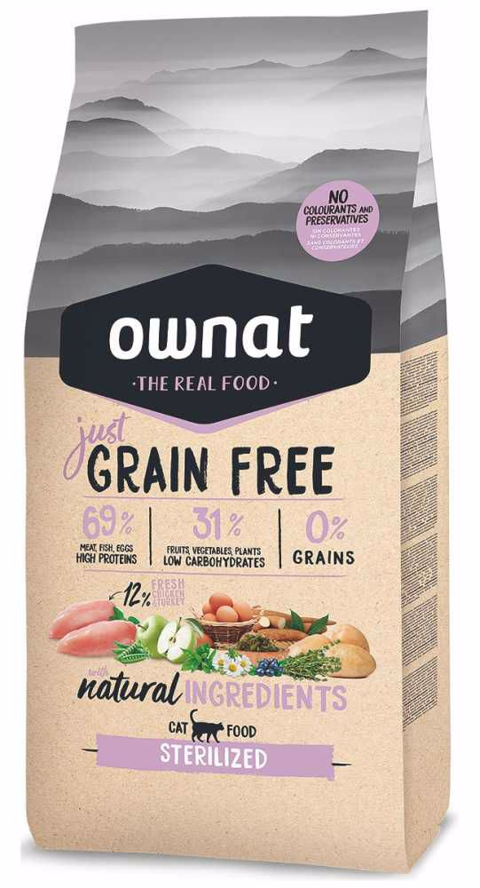 OWNAT Cat Just Grain Free Sterilized 1 kg - AKCE 20%