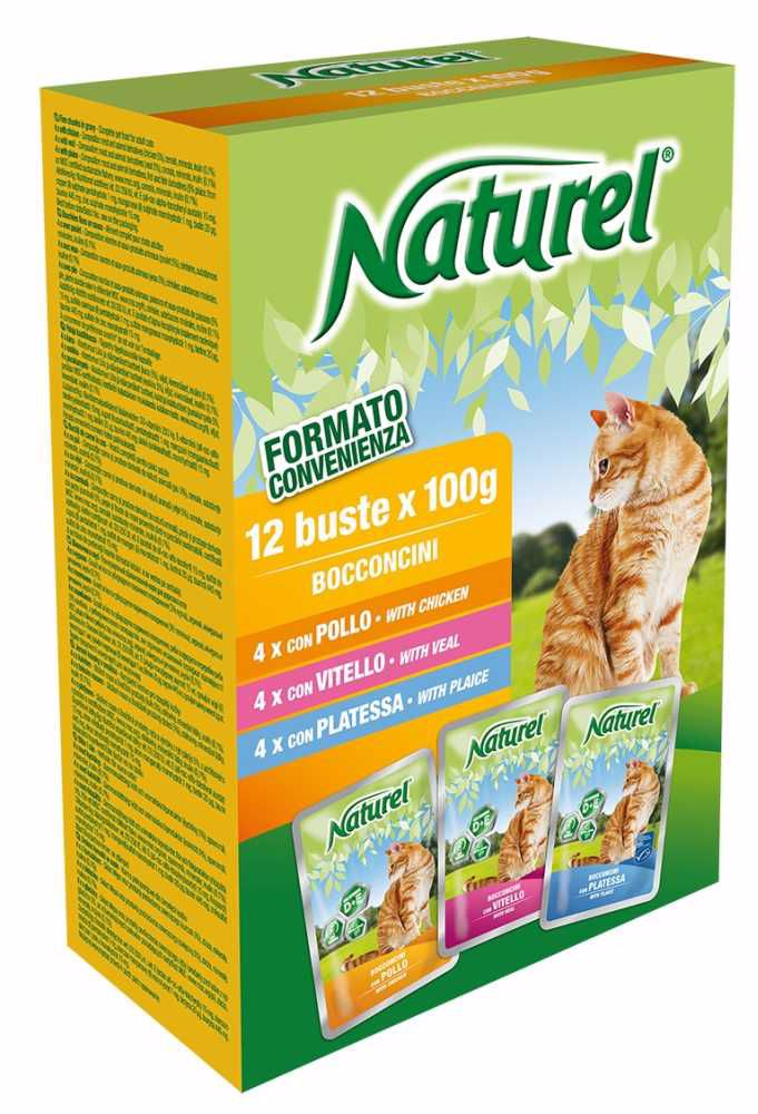 Naturel cat pouches BOX 12x100g-Chicken, Veal, Plaice-030051