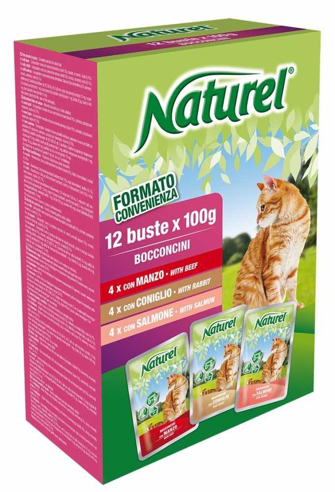 Naturel cat pouches BOX 12x100g-Beef, Rabbit, Salmon-030052