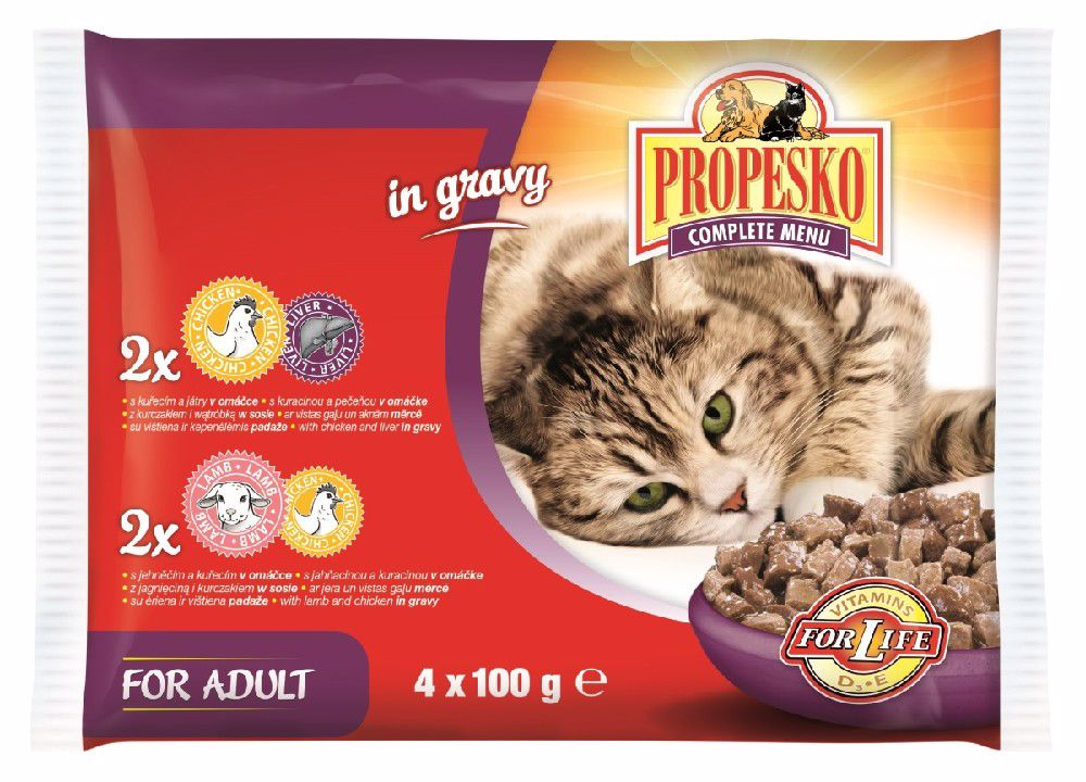 PROPESKO KAPSA KOČKA 4-pack 100g-kuře/játra+jehne/kuře-14825