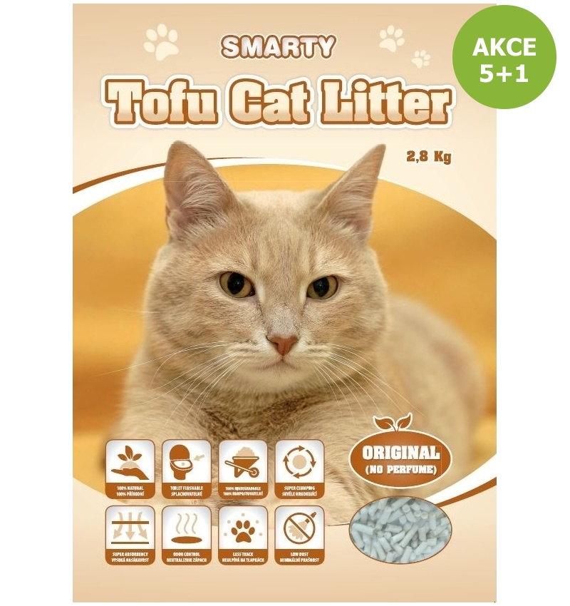 Smarty Tofu Cat Litter-Original-podestýlka bez vůně 6lt.-AKCE 5+1-14894