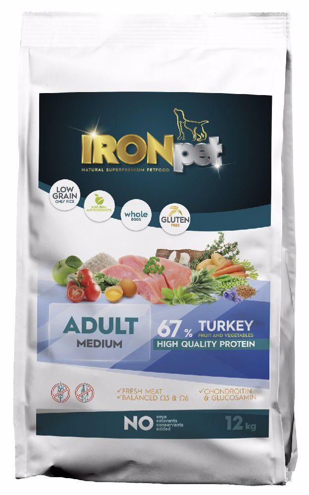 IRONpet Dog Adult Medium Turkey (Krůta) 12 kg