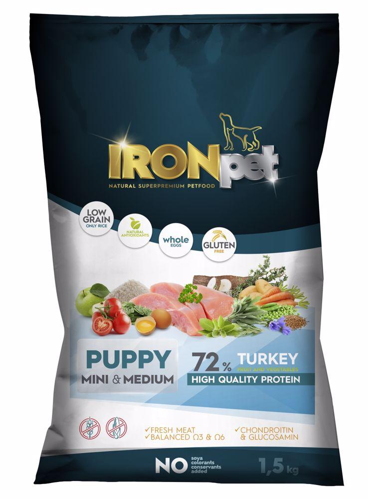 IRONpet Dog Puppy Mini  &  Medium Turkey (Krůta) 1,5 kg