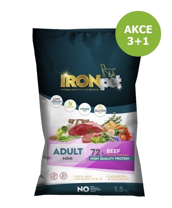 IRONpet BEEF Mini Adult 1,5kg-AKCE 3+1